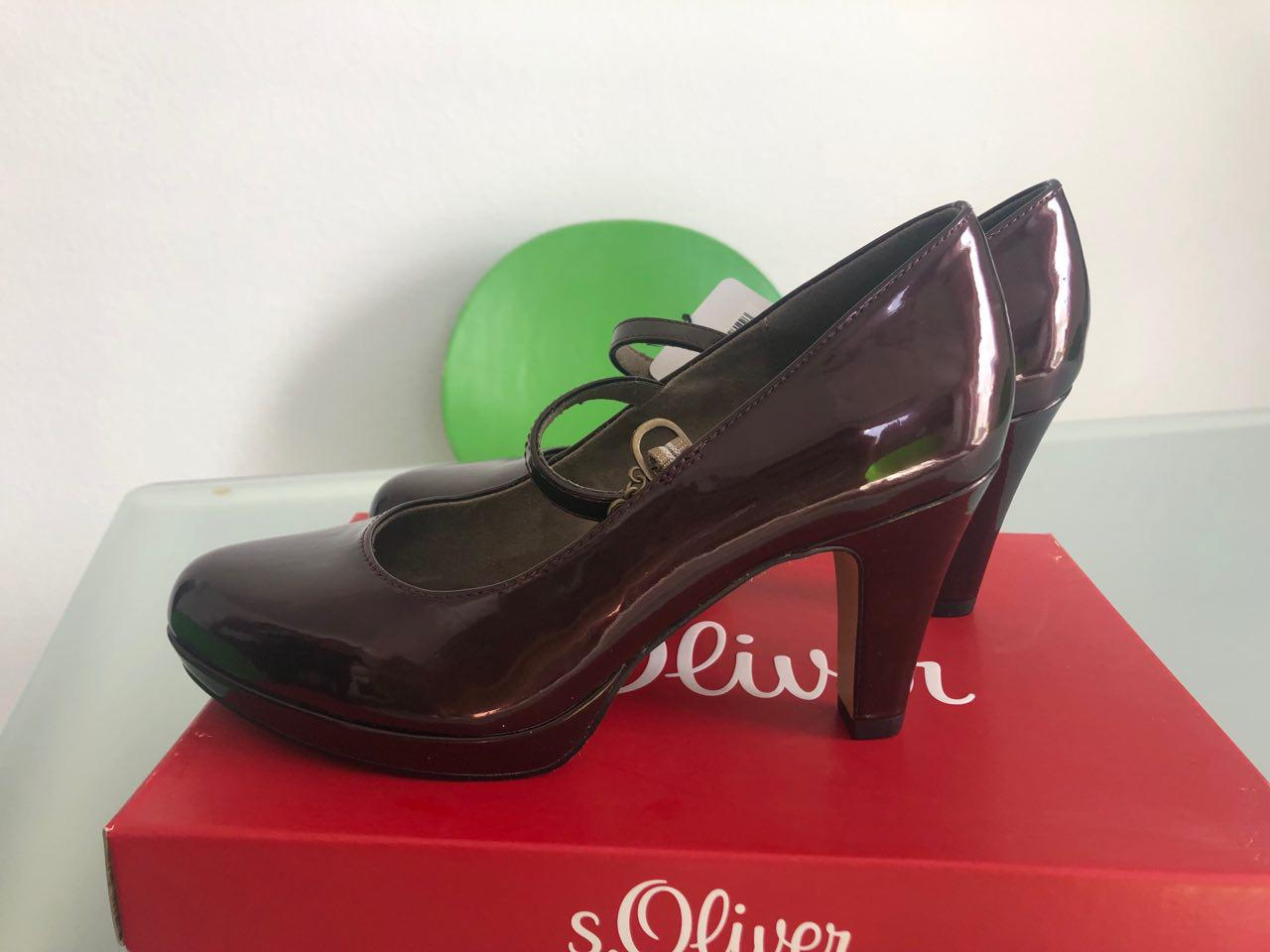 Foto des unpaars Damen Unpaar-Schuhe Pumps S. Oliver li. 37 re. 38 Riemchen Absatz glänzend