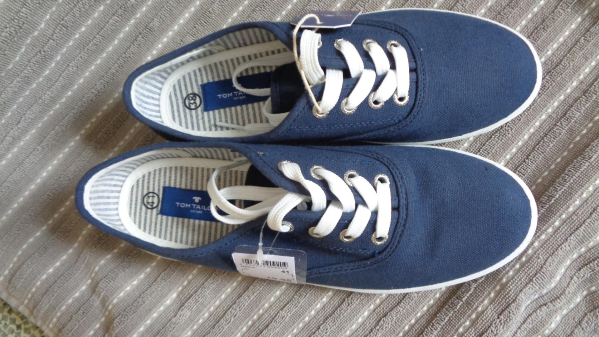 Schnürschuh Sommer - TomTailor blau-weiß