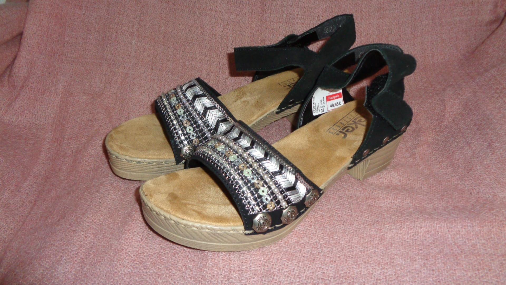 Sandale - Rieker schwarz mit Absatz