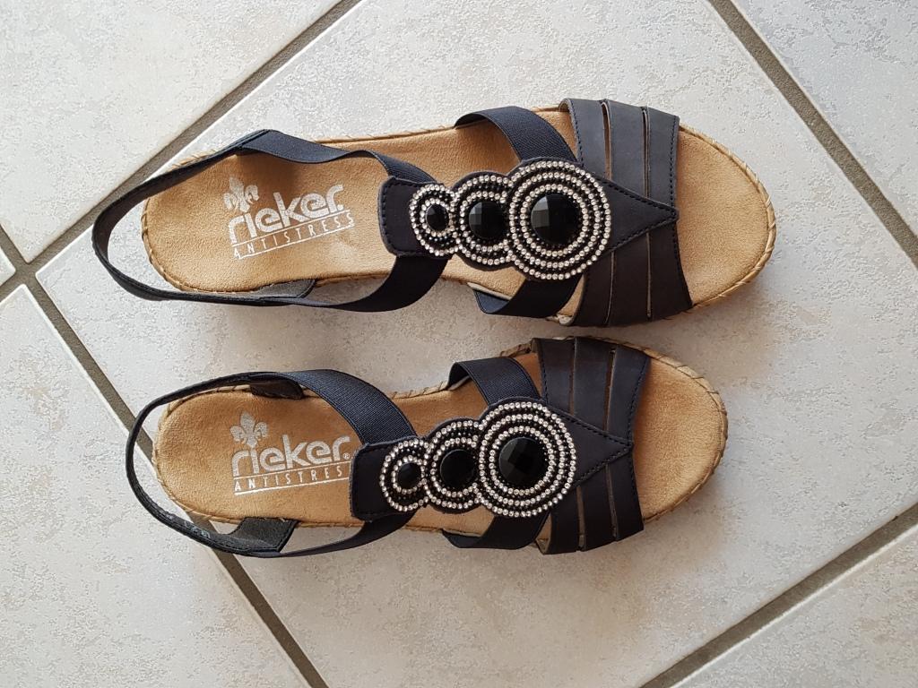 Blaue Leder Sandale von Rieker